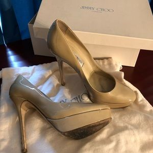 Jimmy Choo Patent Leather Nude Heels